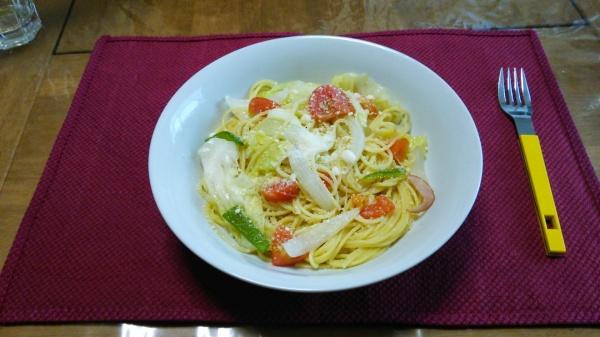 キャベツとあっさり野菜のペペロンチーノ