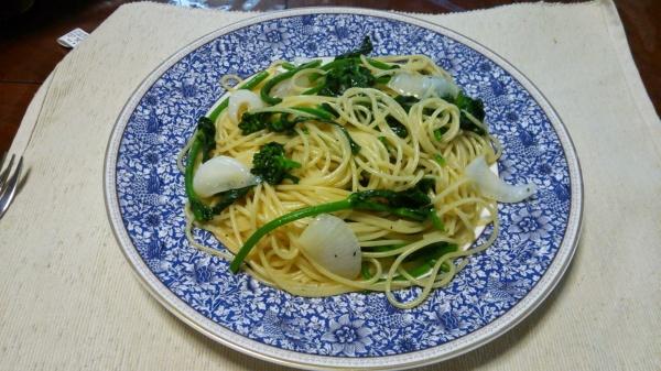 かき菜のペペロンチーノ