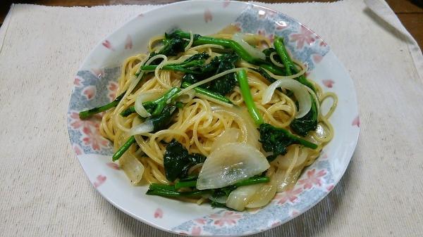 かき菜の和風パスタ・胡麻油風味