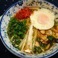 シシトウとエリンギ炒めと刻み葱の味噌ラーメン