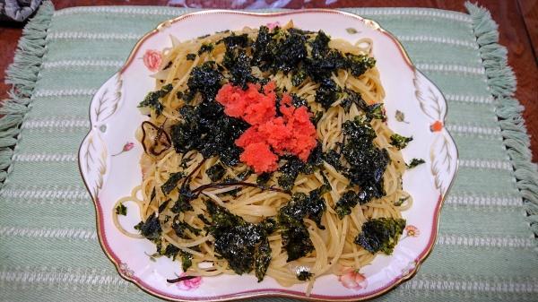 韓国のりと塩昆布の明太パスタレシピ