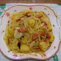 ジャガイモのバジルカレー味パスタ